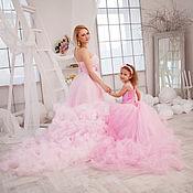 """Свадебный салон ручной работы. Ярмарка Мастеров - ручная работа Розовое парные платье - облако """"Мама и дочка"""". Handmade."""