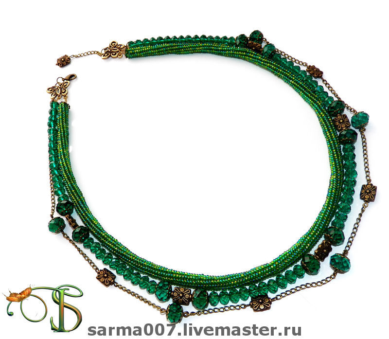 'Forest nymph' necklace multi-row harness, Necklace, Voronezh,  Фото №1