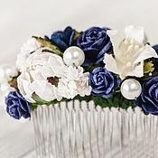 Свадебный салон ручной работы. Ярмарка Мастеров - ручная работа Гребень невесты Синяя цветочная заколка Украшение для волос Ночь. Handmade.