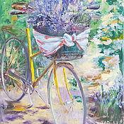 """Картины и панно ручной работы. Ярмарка Мастеров - ручная работа """"Лавандовый день""""картина маслом прованс,велосипед с букетом лаванды. Handmade."""