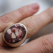 Кольца ручной работы. Ярмарка Мастеров - ручная работа 16.5 яшма23 мм Кольцо серебро. Handmade.