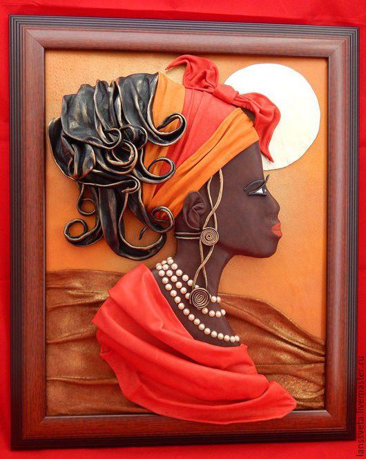 Люди, ручной работы. Ярмарка Мастеров - ручная работа. Купить Картина из кожи Африка. Объемная картина из кожи.. Handmade. африканка
