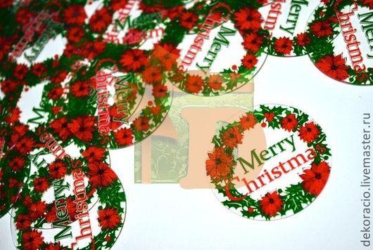 """Упаковка ручной работы. Ярмарка Мастеров - ручная работа. Купить Бирка """"Рождественский венок"""" прозрачная. Handmade. Бирка, новогоднее украшение"""