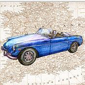 Картины и панно handmade. Livemaster - original item Car on the map of England MGB 1971 for the boy`s room. Handmade.