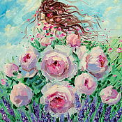 Картины и панно handmade. Livemaster - original item Oil painting on canvas Beautiful summer. Roses. Lavender. Handmade.