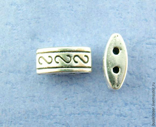 Бусины металлические овальные 10.0мм x 5.0мм - античное серебро