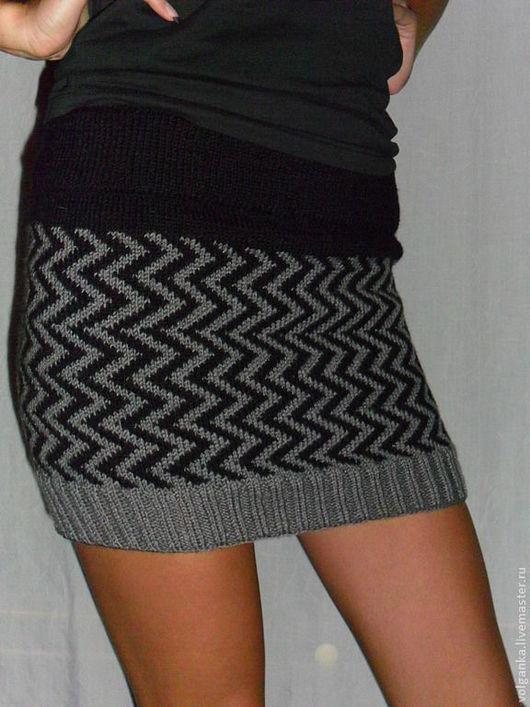 """Юбки ручной работы. Ярмарка Мастеров - ручная работа. Купить юбка """"зигзаг"""". Handmade. Черный, вязание на заказ, жаккардовое вязание"""