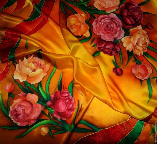 """Шали, палантины ручной работы. Ярмарка Мастеров - ручная работа. Купить Платок батик """"Пионы"""". Handmade. Рисунок, лето, багряный"""