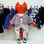 Куклы и игрушки handmade. Livemaster - original item Big cat boy with clothes. Handmade.