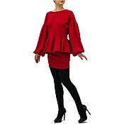 Одежда handmade. Livemaster - original item Red long sleeve crop top pencil Skirt Mini skirt