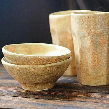 Посуда ручной работы. Ярмарка Мастеров - ручная работа Бежевый песочный керамический набор на 2 персоны, ручная работа. Handmade.