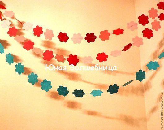 гирлянда из цветочков, оригинальная гирлянда, аксессуар для фотосессии, оригинальное украшение зала