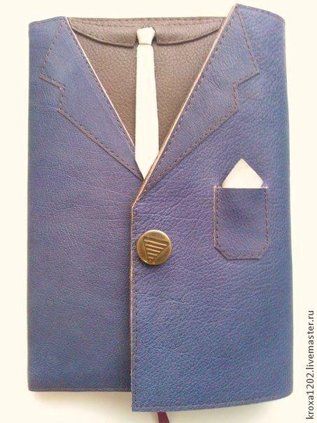"""Ежедневники ручной работы. Ярмарка Мастеров - ручная работа. Купить ежедневник """" Пиджак"""". Handmade. Голубой, бабочка, кожа натуральная"""