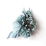 Украшения handmade. Livemaster - original item Hair clip machine Fresh Wind blue flower with stamens. Handmade.