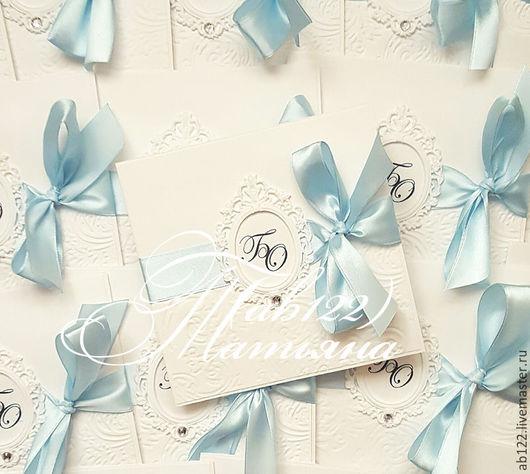 Свадебные аксессуары ручной работы. Ярмарка Мастеров - ручная работа. Купить Нежно-голубые приглашения в конверте. Handmade. Голубой, электросталь