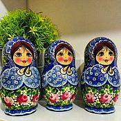 Русский стиль handmade. Livemaster - original item Matryoshka floral, 5 seats, hand-painted, varnished .. Handmade.