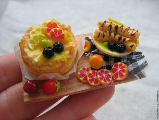 Еда ручной работы. Ярмарка Мастеров - ручная работа. Купить Блины 1:12. Handmade. Разноцветный, миниатюрная еда, сладости из пластики