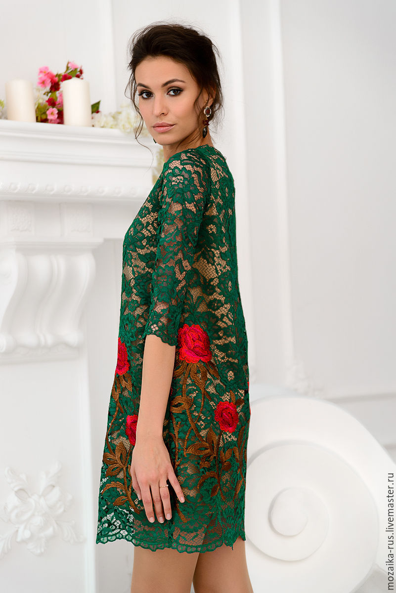 Dress Green Lace With Embroidery U2013 Shop Online On Livemaster With Shipping - AT0XPCOM | Novosibirsk