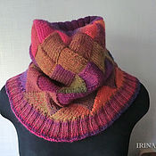 Аксессуары handmade. Livemaster - original item Bright knitted Snood scarf tube interlock. Handmade.