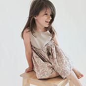 Работы для детей, ручной работы. Ярмарка Мастеров - ручная работа Детское платье с пышной юбкой, бежевое, коричневый цветочный орнамент. Handmade.