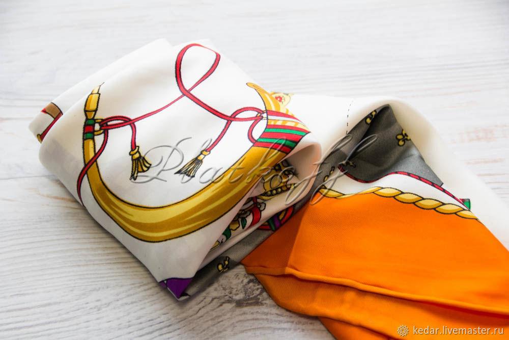 Silk neckerchief made of Hermes fabric, Shawls1, Moscow,  Фото №1