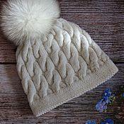 Шапки ручной работы. Ярмарка Мастеров - ручная работа Зимняя шапка с меховым помпоном. Handmade.