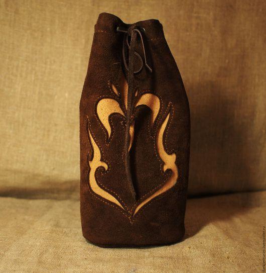Гадания ручной работы. Ярмарка Мастеров - ручная работа. Купить Мешочек для рун из замши / кожи коричневый. Handmade.
