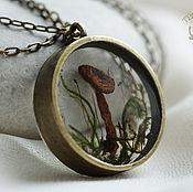 Украшения handmade. Livemaster - original item Round transparent pendant with a real mushroom and moss. Pendant with herbs. Handmade.