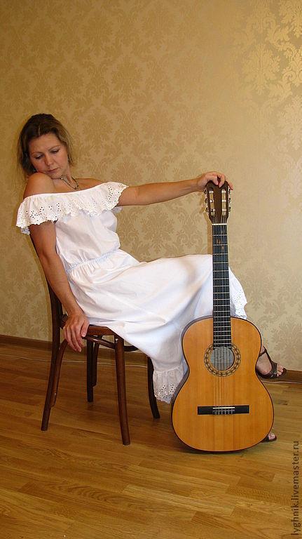 Платья ручной работы. Ярмарка Мастеров - ручная работа. Купить Платье из нежного батиста с хлопковым шитьем. Handmade. Белый
