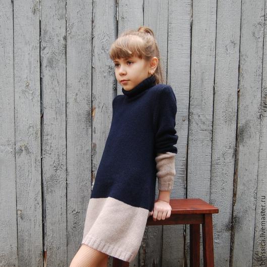 платье, платье вязаное, платье кашемировое, платье для девочки, платье-свитер, вязание для детей, осень  2016