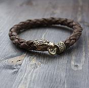 Украшения handmade. Livemaster - original item Leather bracelet with a Fiery lion. Handmade.