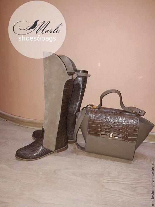 Обувь ручной работы. Ярмарка Мастеров - ручная работа. Купить Сапожки без каблука, натуральная замша со вставками кожи под крокодила. Handmade.