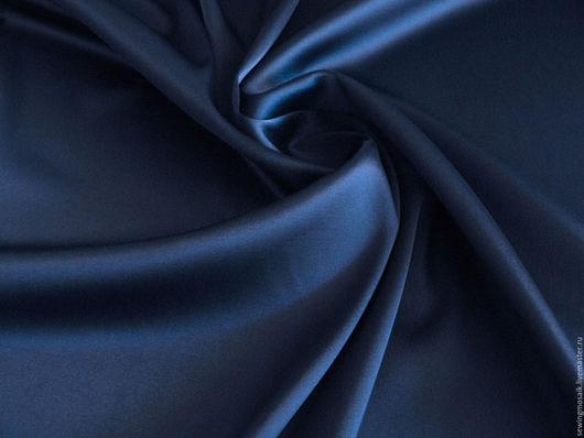 Шитье ручной работы. Ярмарка Мастеров - ручная работа. Купить Итальянская ткань хлопковый сатин темно-синего цвета с эластаном. Handmade.