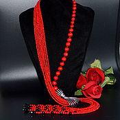 Украшения handmade. Livemaster - original item Necklace Tie from Red natural coral PRESENT Authoring works. Handmade.