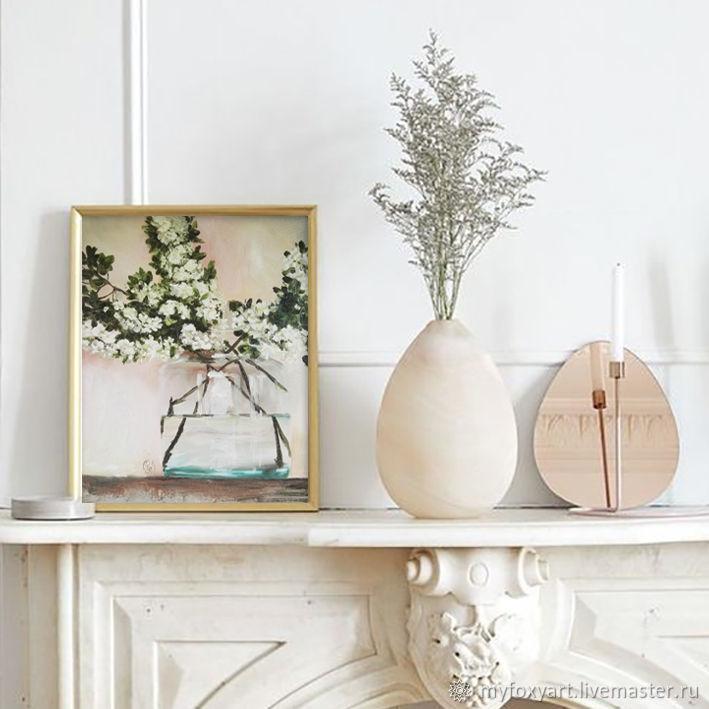Картины цветов ручной работы. Ярмарка Мастеров - ручная работа. Купить Яблоня в вазе, картина маслом на холсте, ветка яблони. Handmade.