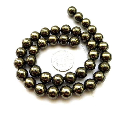 Для украшений ручной работы. Ярмарка Мастеров - ручная работа. Купить Пирит 39 камней набор золотой бусины гладкий шар 10 мм. Handmade.