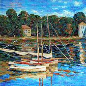 """Картины и панно ручной работы. Ярмарка Мастеров - ручная работа Копия картины """"Лодки"""", мозаика. Handmade."""