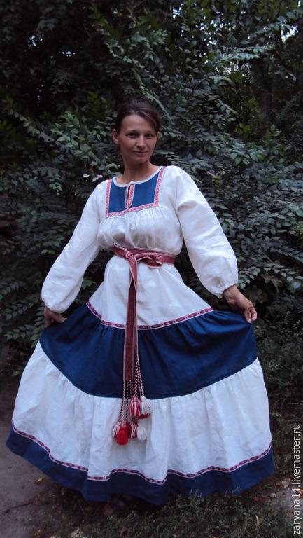 """Одежда ручной работы. Ярмарка Мастеров - ручная работа. Купить Платье """"Сине-белое"""". Handmade. Разноцветный, славянский костюм"""