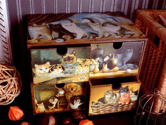 Мини-комоды ручной работы. Ярмарка Мастеров - ручная работа. Купить Кошачье царство, мини-комод (декупаж). Handmade.