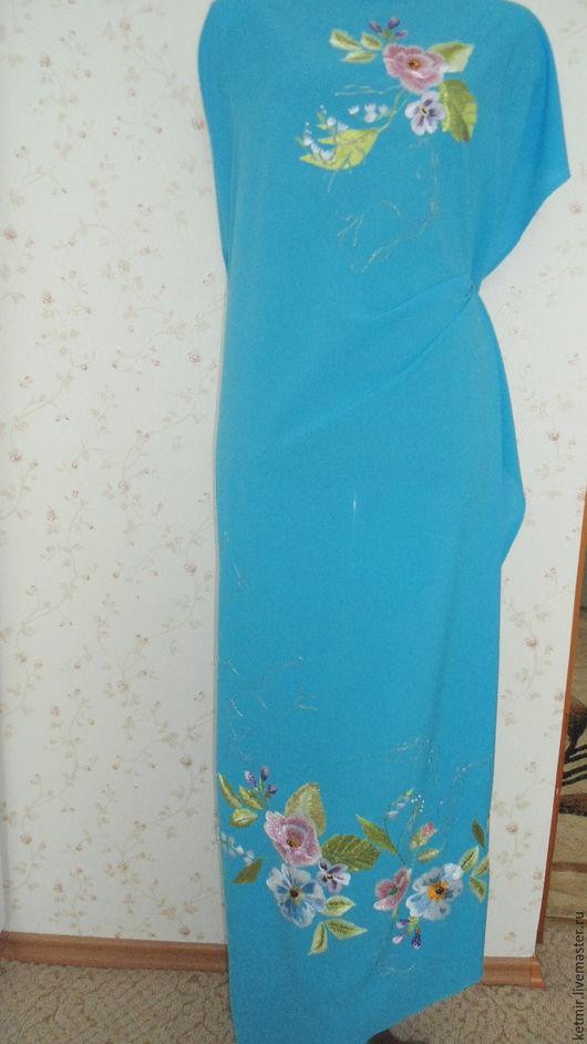 Платья ручной работы. Ярмарка Мастеров - ручная работа. Купить вышитая шелком заготовка на платье. Handmade. Однотонный, краски по ткани