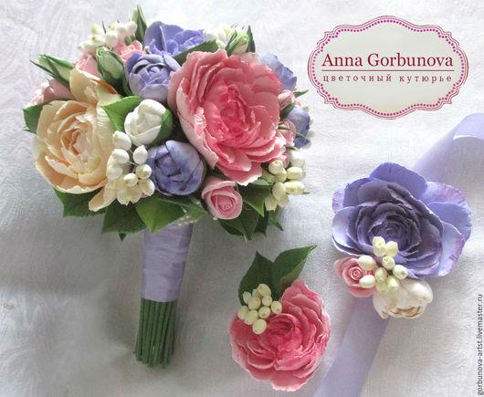 Букет невесты, свадебный букет из глины, букет из полимерной глины, букет для невесты, букет для свадьбы, свадьба, букет из пионов ручной работы от цветочного кутюрье Анны Горбуновой