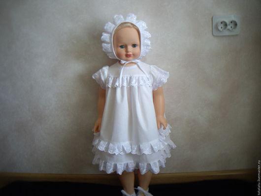Крестильные принадлежности ручной работы. Ярмарка Мастеров - ручная работа. Купить Крестильная сорочка на возраст от 0 до 6 месяцев. Handmade.