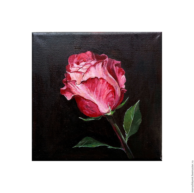 Картины цветов ручной работы. Ярмарка Мастеров - ручная работа. Купить Бутон розы. Handmade. Цветы, розовый, картина на холсте