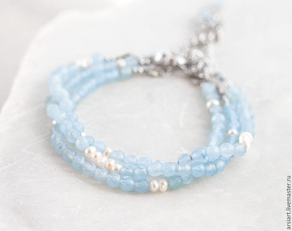 729_Голубой bracelet jade Bracelet with stones and pearls, silver, Bead bracelet, Athens,  Фото №1