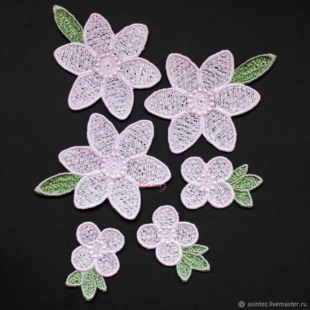 Applique embroidered stripe Flowers lace patch for clothes, Applications, Moscow,  Фото №1