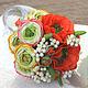 """Свадебные цветы ручной работы. Ярмарка Мастеров - ручная работа. Купить Букет невесты """"Маковая королева"""" из полимерной глины маки ранюнкулюсы. Handmade."""