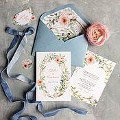 Свадебный салон ручной работы. Ярмарка Мастеров - ручная работа Акварельные свадебные приглашения Нежные цветы в серо-голубой дымке. Handmade.