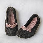 Обувь ручной работы. Ярмарка Мастеров - ручная работа Тапочки-балетки домашние, разм. 37 (подошва войлочная). Handmade.
