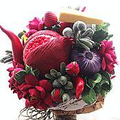 Цветы и флористика handmade. Livemaster - original item Flower and vegetable bouquet with cheese. Handmade.