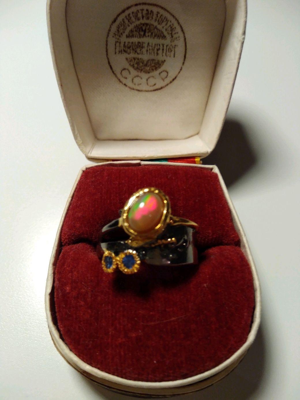Кольцо серебряное с опалом и сапфирами, Кольца, Москва, Фото №1